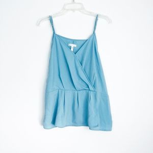 Leith blue button front wrap tank top